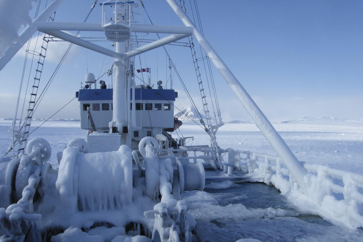 Ship covered in ice